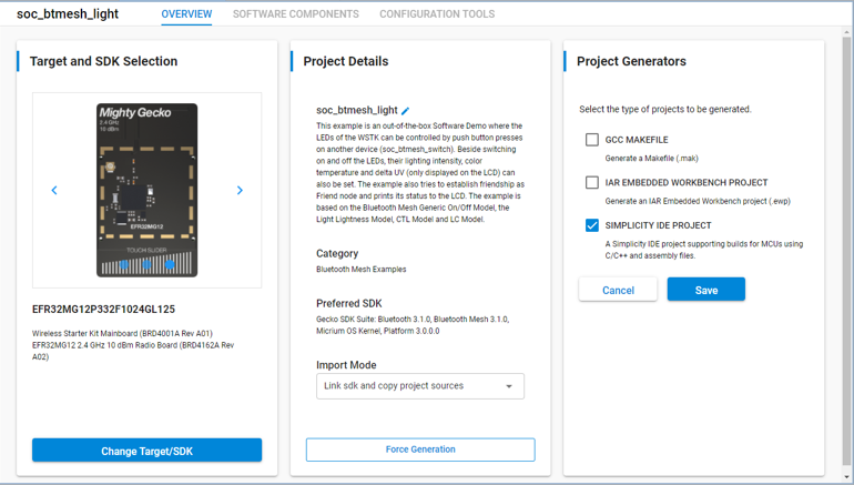 Project Configurator Overview tab with the three cards